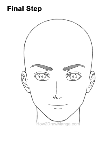 How to Draw Manga Anime Adult Man Male Guy Head Face Front View Last