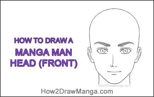 How to Draw Manga Anime Adult Man Male Guy Head Face Front View