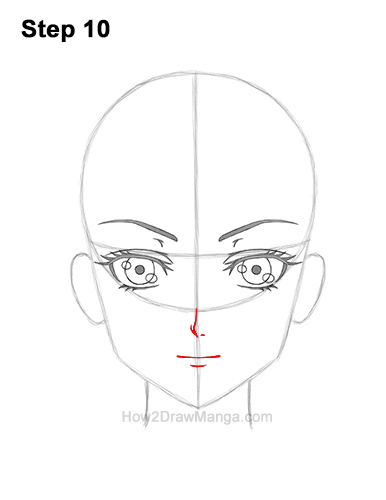 How to Draw Manga Anime Adult Woman Female Girl Head Face Front View 10