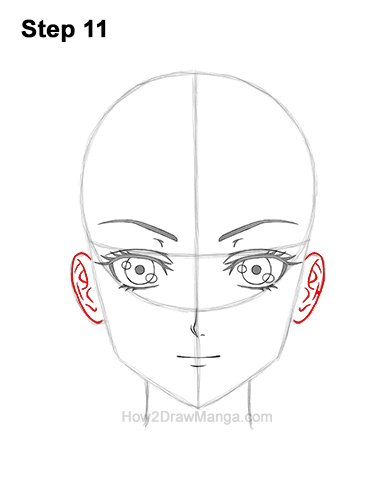 How to Draw Manga Anime Adult Woman Female Girl Head Face Front View 11