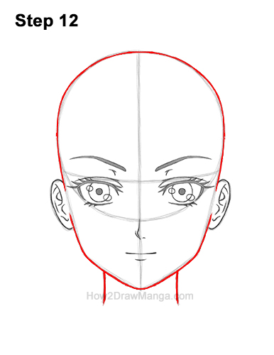 How to Draw Manga Anime Adult Woman Female Girl Head Face Front View 12