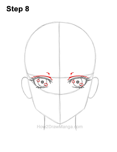 How to Draw Manga Anime Adult Woman Female Girl Head Face Front View 8