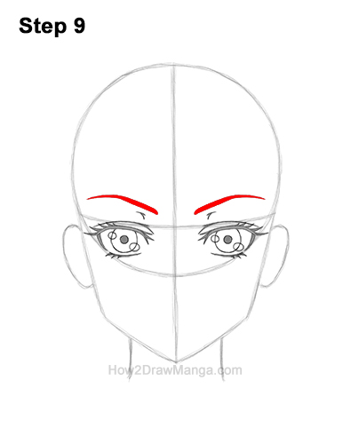 How to Draw Manga Anime Adult Woman Female Girl Head Face Front View 9