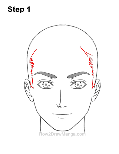 How to Draw Manga Anime Man Guy Side Part Parted Hair Hairstyle Front View 1