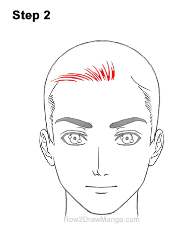 How to Draw Manga Anime Man Guy Side Part Parted Hair Hairstyle Front View 2