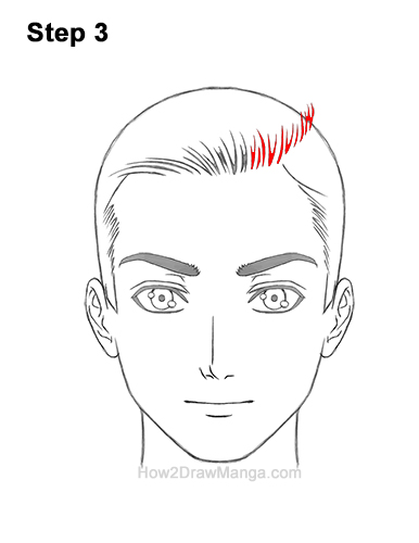 How to Draw Manga Anime Man Guy Side Part Parted Hair Hairstyle Front View 3