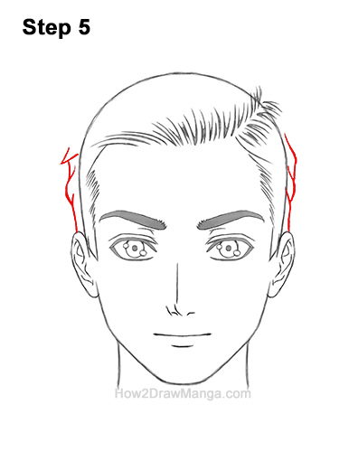 How to Draw Manga Anime Man Guy Side Part Parted Hair Hairstyle Front View 5