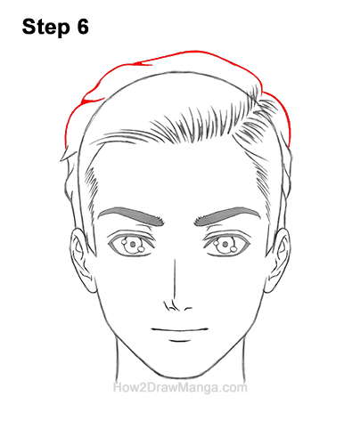How to Draw Manga Anime Man Guy Side Part Parted Hair Hairstyle Front View 6