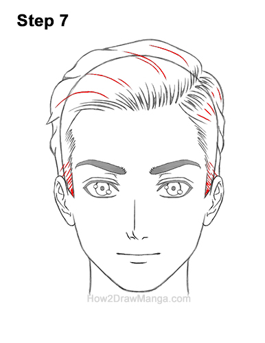 How to Draw Manga Anime Man Guy Side Part Parted Hair Hairstyle Front View 7