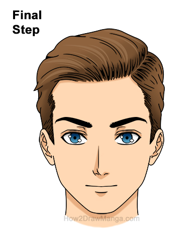 How to Draw Manga Anime Man Guy Side Part Parted Hair Hairstyle Front View Last