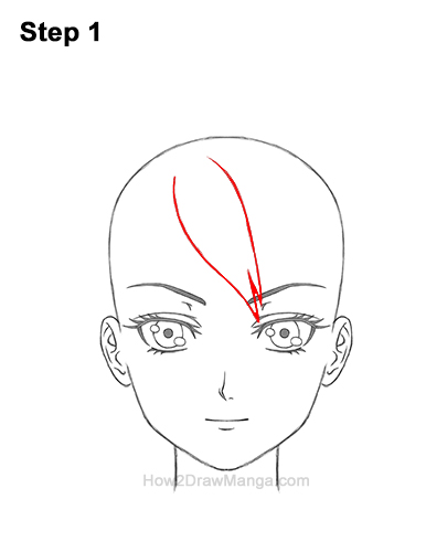 How to Draw Manga Anime Woman Girl Messy Bun Updo Hair Hairstyle Front View 1