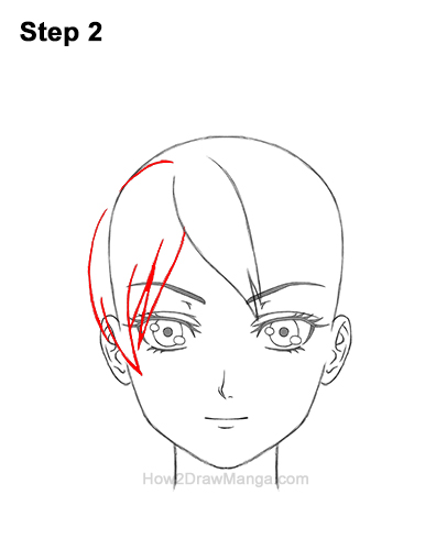 How to Draw Manga Anime Woman Girl Messy Bun Updo Hair Hairstyle Front View 2