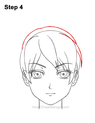How to Draw Manga Anime Woman Girl Messy Bun Updo Hair Hairstyle Front View 4