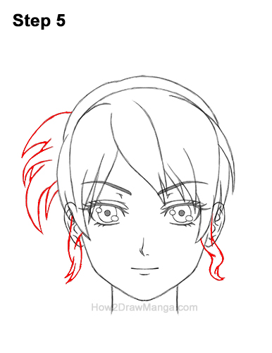 How to Draw Manga Anime Woman Girl Messy Bun Updo Hair Hairstyle Front View 5