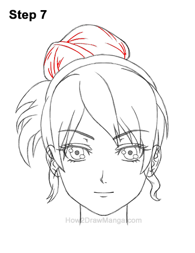 How to Draw Manga Anime Woman Girl Messy Bun Updo Hair Hairstyle Front View 7