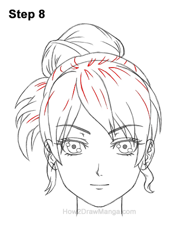 How to Draw Manga Anime Woman Girl Messy Bun Updo Hair Hairstyle Front View 8