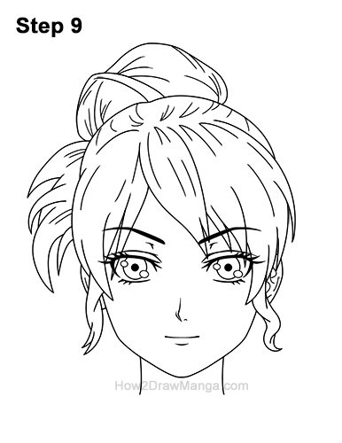 How to Draw Manga Anime Woman Girl Messy Bun Updo Hair Hairstyle Front View 9